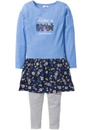 Jurk+legging (2-dlg.), bpc bonprix collection, donkerblauw gedessineerd