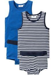 Singlet+boxershort (4-dlg. set), bpc bonprix collection, azuurblauw/donkerblauw/wit