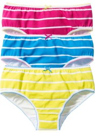 Hipster (set van 3), bpc bonprix collection, turkoois/pink/limoengroen/wit gestreept