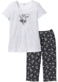 Pyjama (2-dlg.), bpc bonprix collection, leisteengrijs/wit met print