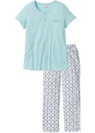 Pyjama (2-dlg.), bpc selection, aqua pastel gedessineerd