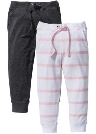 Broek (set van 2), bpc bonprix collection, roze poudre/wit gestreept+antraciet gemêleerd