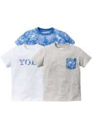 T-shirt (set van 3), bpc bonprix collection, blue bleached+wit+ecru gemêleerd