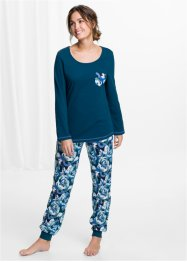 Pyjama (2-dlg.), bpc bonprix collection, blauwpetrol met print
