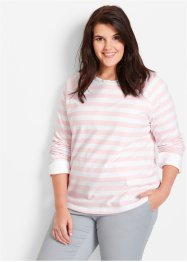 Sweatshirt, bpc bonprix collection, parelroze/wit gestreept
