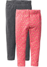 Legging (set van 2), bpc bonprix collection, lichtpink gedessineerd+antraciet gemêleerd