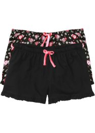Short (set van 2), bpc bonprix collection, zwart gebloemd