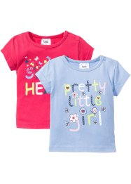 Babyshirt (set van 2), bpc bonprix collection, parelblauw/pink