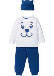 Longsleeve+shirtbroek+muts (3-dlg. set), bpc bonprix collection, wit/gentiaanblauw