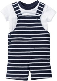Babyshirt+tuinbroek (2-dlg. set), bpc bonprix collection, wit/donkerblauw