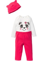 Rompertje+broek+muts (3-dlg. set), bpc bonprix collection, wolwit/pink