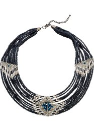 Collier, bpc bonprix collection, donkerblauw/zilverkleur