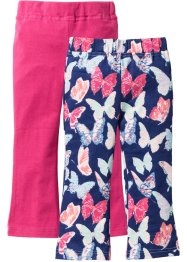Legging (set van 2), bpc bonprix collection, middernachtblauw gedessineerd+donkerpink