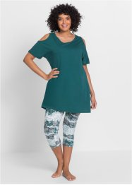 Pyjama, bpc bonprix collection, petrol met print