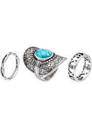 Ring (3-dlg. set), bpc bonprix collection, antiek zilverkleur/turkoois