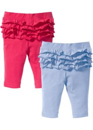 Legging (set van 2), bpc bonprix collection, parelblauw/pink