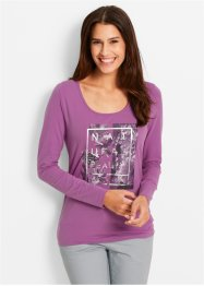 Stretchshirt, bpc bonprix collection, mat braamrood met print