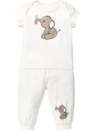 T-shirt+shirtbroek (2-dlg. set), bpc bonprix collection, wolwit
