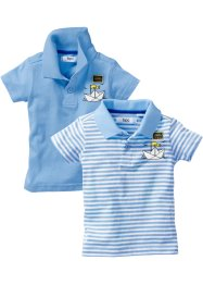 Babypolo (set van 2), bpc bonprix collection, lichtblauw+lichtblauw/wit gestreept