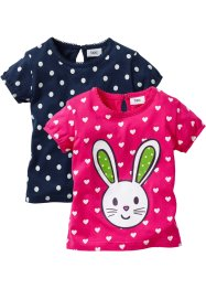 Babyshirt (set van 2), bpc bonprix collection, donkerpink/donkerblauw