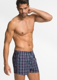 Geweven boxershort (set van 3), bpc bonprix collection, donkerblauw geruit