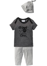 T-shirt+broek+muts (3-dlg. set), bpc bonprix collection, antraciet gemêleerd/lichtgrijs gemêleerd