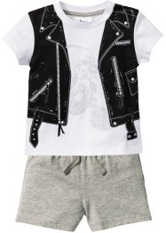 Babyshirt+short (2-dlg. set), bpc bonprix collection, wit/lichtgrijs gemêleerd