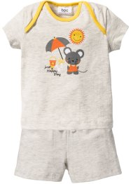 Babyshirt+short (2-dlg. set), bpc bonprix collection, ecru gemêleerd