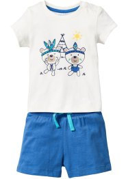 Babyshirt+short (2-dlg. set), bpc bonprix collection, wolwit/gletsjerblauw