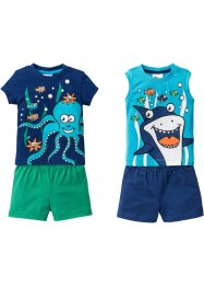 Babyshirt+top+shorts (4-dlg. set), bpc bonprix collection, gentiaanblauw/Caraïbisch blauw/jadegroen