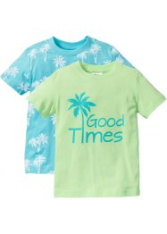 T-shirt (set van 2), bpc bonprix collection, mint+aqua gedessineerd