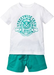 T-shirt+short (2-dlg. set), bpc bonprix collection, wit/smaragdgroen met print