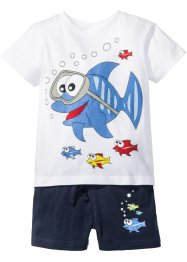 T-shirt+short (2-dlg. set), bpc bonprix collection, wit/donkerblauw met print