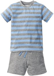 T-shirt+short (2-dlg. set), bpc bonprix collection, grijs gemêleerd/lichtblauw gestreept