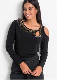 Cold shoulder shirt met parels, BODYFLIRT