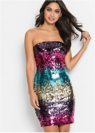 Strapless jurk met pailletten, BODYFLIRT boutique