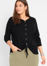 Geribd shirt met knoopdetail, bpc bonprix collection