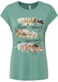 T-shirt met glitterprint, RAINBOW