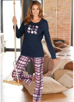 Pyjama, bpc bonprix collection, donkerblauw met print