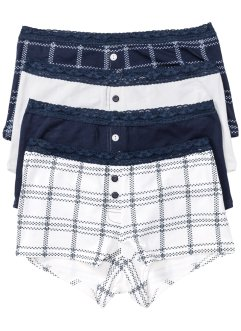 Boxershort (set van 4), bpc bonprix collection, donkerblauw/wolwit gedessineerd