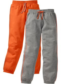 Sweatbroek (set van 2), bpc bonprix collection, grijs gemêleerd/donkeroranje