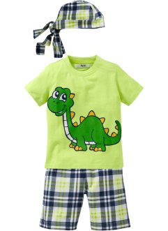 T-shirt+bermuda+bandana (3-dlg. set), bpc bonprix collection, lichtgroen met dino