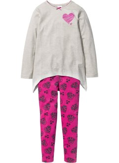 Pyjama (2-dlg. set), bpc bonprix collection, ecru gemêleerd/middenfuchsia