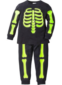 Pyjama «Glow in the Dark» (2-dlg. set), bpc bonprix collection, zwart met print