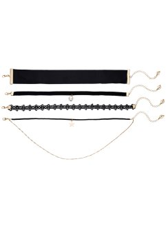 Choker (4-dlg. set), bpc bonprix collection, zwart/goudkleur