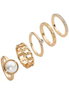 Ringen (5-dlg. set), bpc bonprix collection, goudkleur