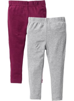 Legging (set van 2), bpc bonprix collection, lichtgrijs gemêleerd+bessen