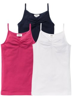 Hemdje (set van 3), bpc bonprix collection, wit/donkerblauw/pink