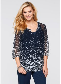 Blouse, bpc selection, donkerblauw/wit gedessineerd