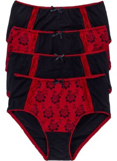 Maxislip (set van 4), bpc bonprix collection, zwart/rood gedessineerd
